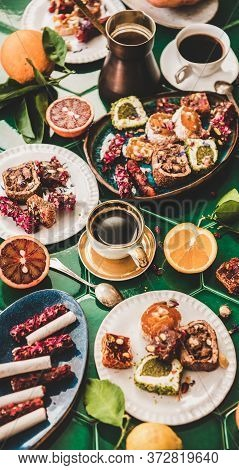 Turkish Traditional Lokum Sweet Delight Typical Dessert With Coffee