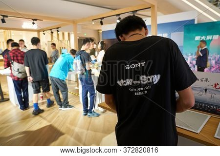 SHENZHEN, CHINA - CIRCA APRIL, 2019: staff as seen at UpperHills during Sony Expo 2019.