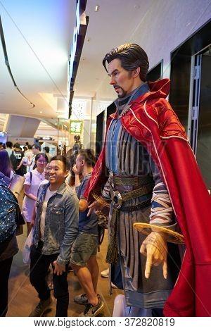 SHENZHEN, CHINA - CIRCA APRIL, 2019: Doctor Stephen Strange life size statue on display at UpperHills in Shenzhen.