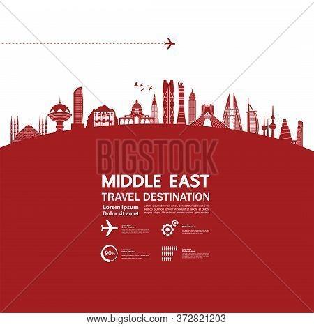 Middle East Travel Destination Grand Vector Illustration.
