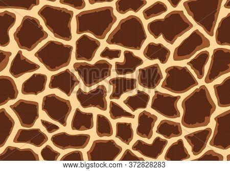 Giraffe Seamless Pattern Skin Print Design. Wild Animal Hide Artwork Background. Vector Illustration