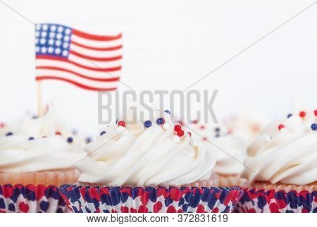 Patriotic 4th Of July Or Memorial Day Celebration Cupcakes With Red, White, And Blue Theme Sprinkles