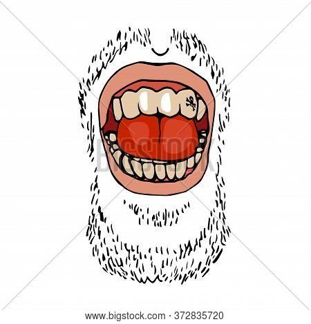 Male Open Mouth With Teeth, Tongue, Stubble, Emotion Laughter, Color Vector Illustration With Black