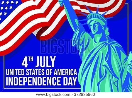 American Independence Day Background Design Combination With American Flag And Liberti Statue, Illus