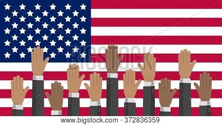 Usa Flag With Hands In Different Colors Reaching Up. The Us Presidential Election Stock Vector Illus
