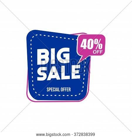 40% Big Sale Tag Vector Badge Template, 40% Big Sale Label Collection, Clearance Sale Sticker Emblem