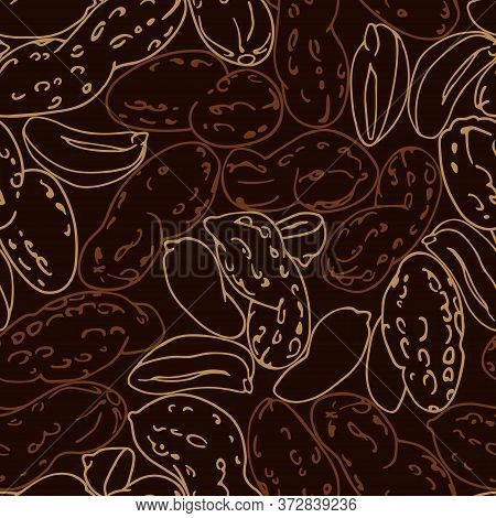 Seamless Pattern Of A Set Of Peanuts & Kernels, For Menu Design Or Confectionery, Textiles, Vector I