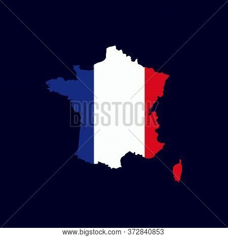 French Map With Flag Vector Isolated On Dark Background. French Map. France Map Vector. Italian Coun