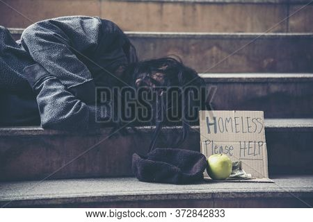 Homeless People Poverty Beggar Man Asking For Money Job And Hoping Help In Helpless Dirty City Sitti