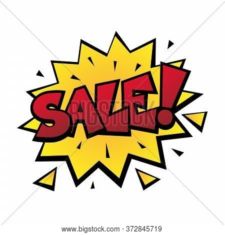 Comic Lettering Wow. Comic Speech Bubble With Emotional Text Sale. Bright Dynamic Cartoon Illustrati