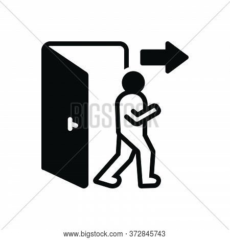 Black Solid Icon For Exit Egress Evacuation Outturn Vent