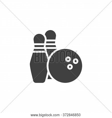 The Bowling Vector Icon. Filled Flat Sign For Mobile Concept And Web Design. Bowling Pin And Ball Gl