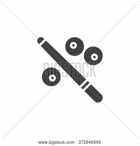 Billiard Game Vector Icon. Filled Flat Sign For Mobile Concept And Web Design. Billiard Cue And Ball
