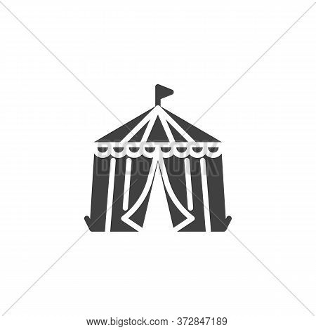 Circus Tent Vector Icon. Filled Flat Sign For Mobile Concept And Web Design. Circus Tent With Flag G