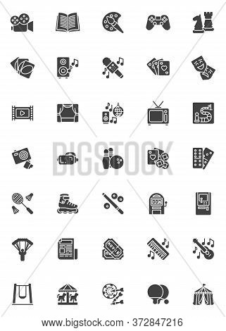 Entertainment And Recreation Vector Icons Set, Modern Solid Symbol Collection, Filled Style Pictogra