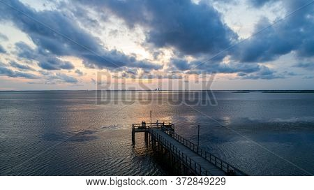 Summer Sunset After A Storm On Mobile Bay, Alabama In June 2020