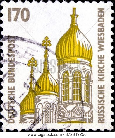 02 08 2020 Divnoe Stavropol Territory Russia Postage Stamp Germany 1991 Sightseeings Russian Church,