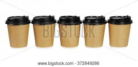 Row of Paper Coffee Cups on White Background