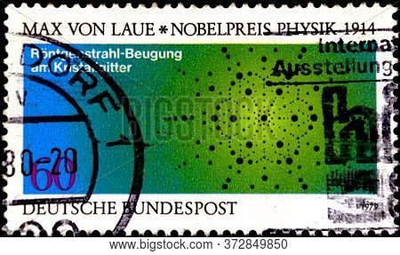 02 08 2020 Divnoe Stavropol Territory Russia The Postage Stamp Germany 1979 Nobel Prize Winners Max
