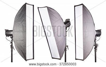Set Of Photography Studio Flash With Softbox Isolated On White Background.