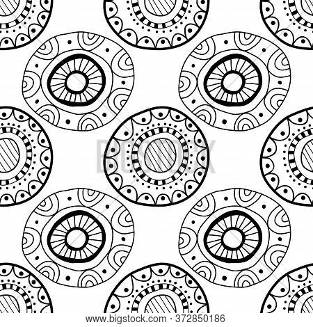Black And White Seamless Pattern Of Decorative Circles. Abstract, Fantasy Items For Coloring Book