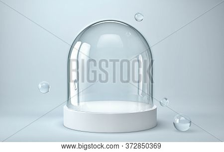 Empty Glass Dome On White Podium With Glass Spheres. 3d Rendering