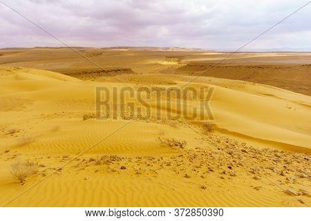 Desert Landscape And Sand Dunes In The Uvda Valley, The Negev Desert, Southern Israel