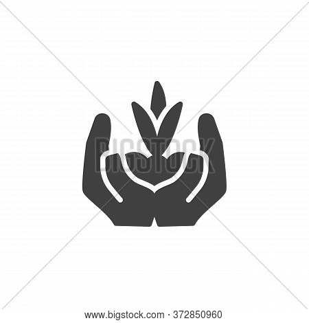 Sprout In A Hand Vector Icon. Filled Flat Sign For Mobile Concept And Web Design. Hands Holding Plan