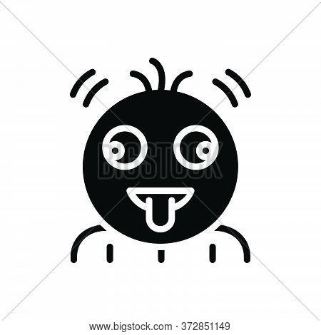 Black Solid Icon For Fruitloop Emoji Character Tongue Greedy