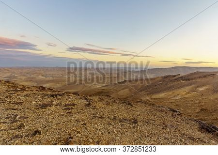 Sunset View Of The Judaean Desert And The Dead Sea, From Moab Viewpoint, Southern Israel