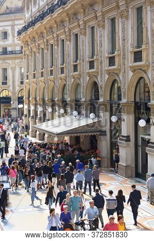 Milan, Italy - September 28, 2018: Gallery Vittorio Emanuele Ii, Luxury Shopping Mall. It Was Design