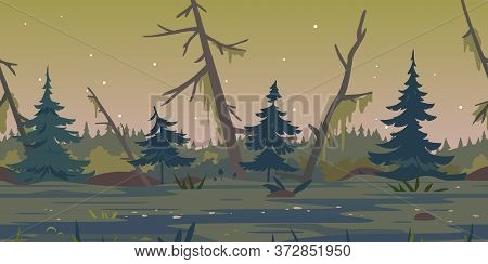 Dark Swamp Landscape With Spruce Trees And Dead Trees, Terrible Mystical Place Game Background Tilla