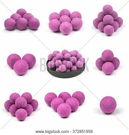 Nine Close Up View Of Violet Boilies, Fishing Baits For Carp Isolated On White Background. High Reso