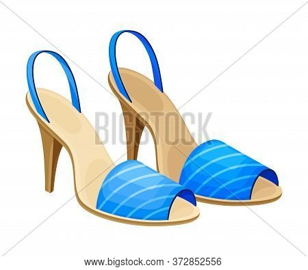 Open Toe Shoes Or Peep-toes With High Heels As Summer Women Clothing Vector Illustration