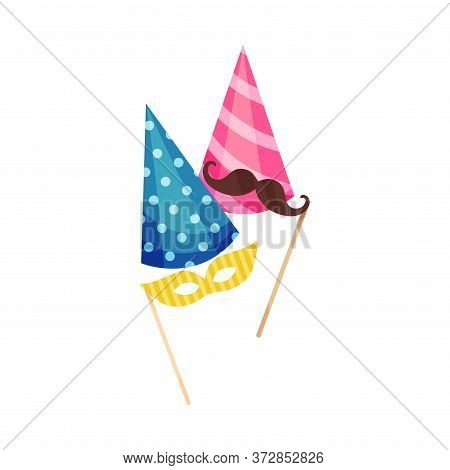 Birthday Cap And Moustache Mask As Party Attributes Vector Illustration