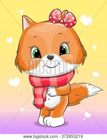 Cute Cartoon Baby Fox Wit A Red Bow And A Red Scarf. Vector Illustration Of Animal