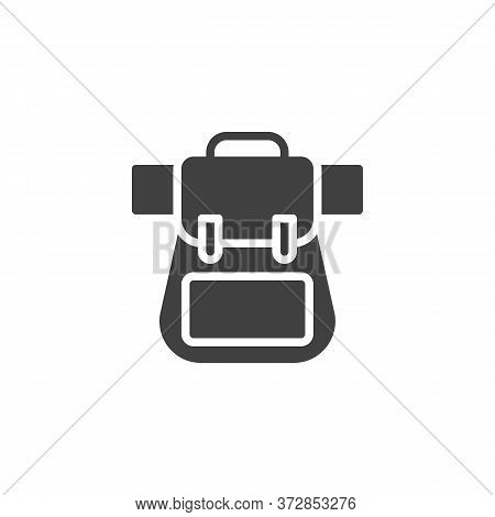 Knapsack, Backpack Vector Icon. Filled Flat Sign For Mobile Concept And Web Design. Hiking Bag Glyph