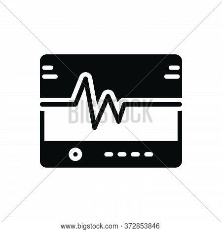 Black Solid Icon For Flatlining  Lifeline  Ecg Medical Heart Monitor