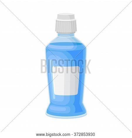Bottle Of Oral Rinse Or Mouthwash For Oral Hygiene Vector Illustration