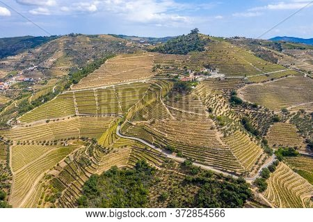 Aerial View Over Douro Valley In Portugal And The Port Wine Vineyards - Videoclip