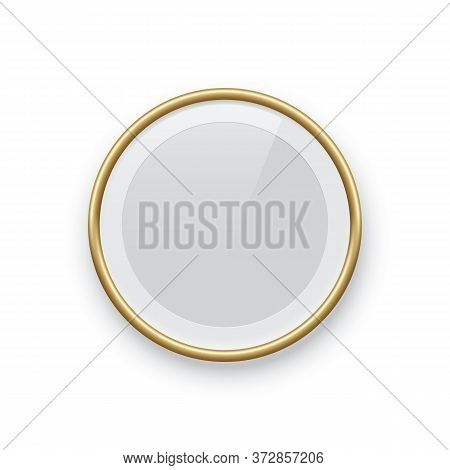 Round Golden Picture Or Photo Frame Isolated On White Background. Vector Design Element