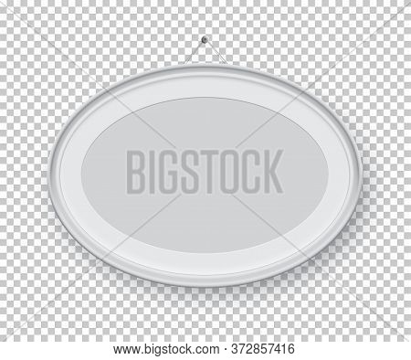 Oval Horizontal White Picture Or Photo Frame Holding On Pin Isolated On Transparent Background. Vect