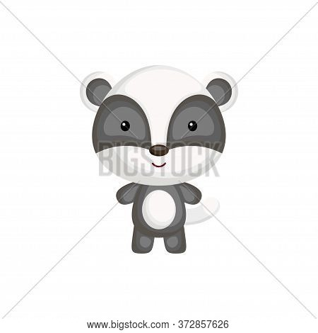 Cute Funny Baby Badger Isolated On White Background. Adorable Animal Character For Design Of Album,