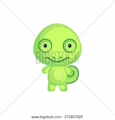 Cute Funny Baby Chameleon Isolated On White Background. Adorable Animal Character For Design Of Albu