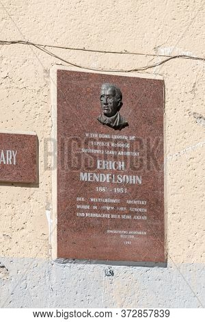Olsztyn, Poland - May 31, 2020: Plaque Commemorating Erich Mendelsohn.