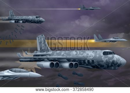 Nauru Bomb Air Strike Concept. Modern Nauru War Airplanes Bombing On Flag Background. 3d Illustratio