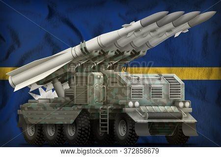 Tactical Short Range Ballistic Missile With Arctic Camouflage On The Nauru Flag Background. 3d Illus