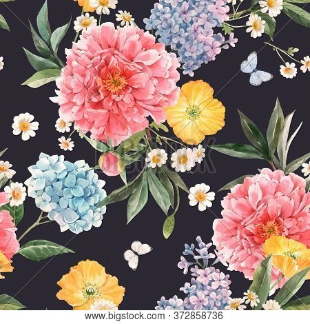Beautiful Vector Seamless Pattern With Watercolor Pink Peony, Blue Hydrangea And Lilac Summer Flower