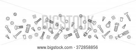 Background With Fasteners. Bolts, Screws, Nuts, Dowels And Rivets In Doodle Style. Hand Drawn Buildi