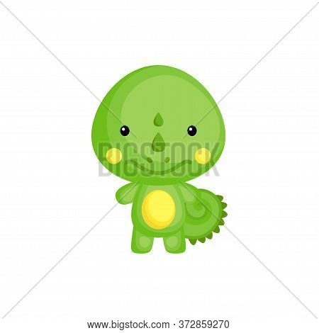 Cute Funny Baby Iguana Isolated On White Background. Adorable Animal Character For Design Of Album,